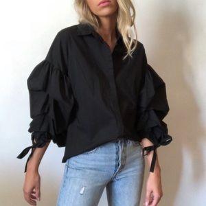 A.n.a Black Puffy Sleeve Button Down Shirt